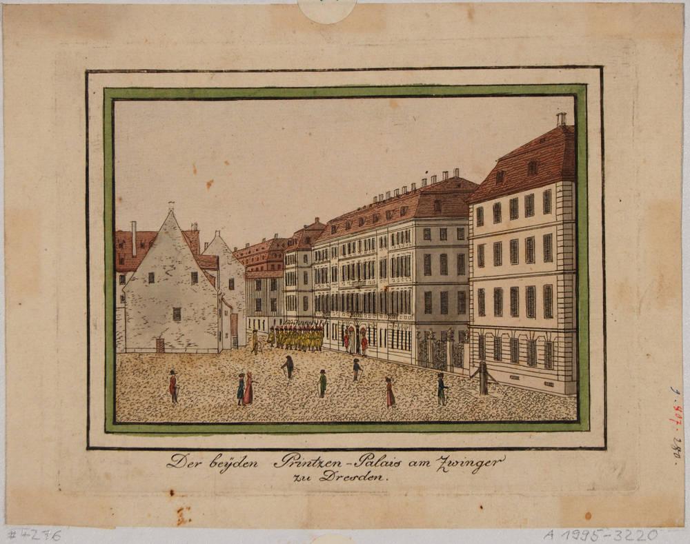 Das Taschenbergpalais der Gräfin Cosel (Prinzenpalais) am Residenzschloss in Dresden, Blick nach Südosten