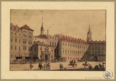 Das Residenzschloss in Dresden, Blick nach Nordwesten in die Schlossgasse (heute Schlossstraße), links das Portal in den kleinen Schlosshof, Radierung um 1820 (Eigentümer SLUB, Deutsche Fotothek)