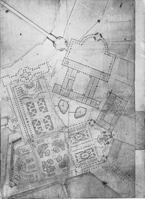 Grundrißplan, Entwurf zur Umgestaltung von Schloß und Zwinger (Eigentümer SLUB, Deutsche Fotothek)