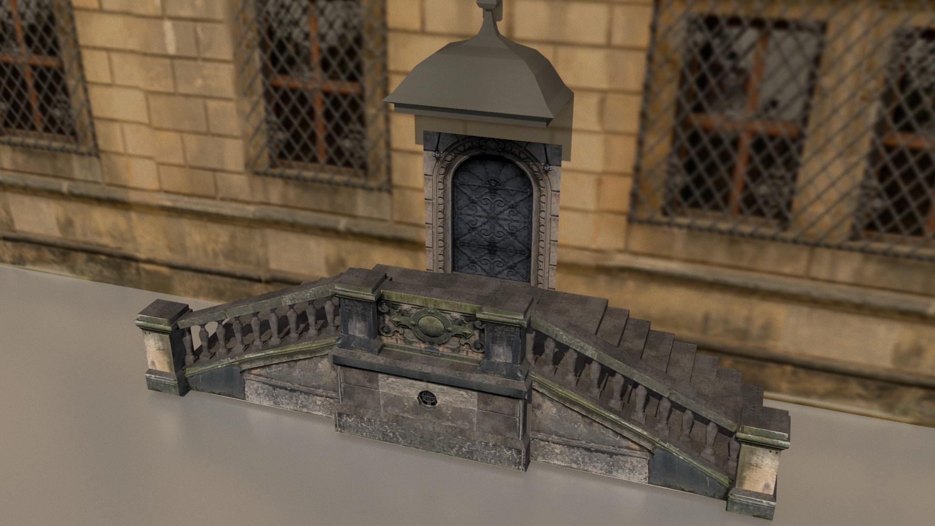 Außentreppe zum Grünen Gewölbe im Modell