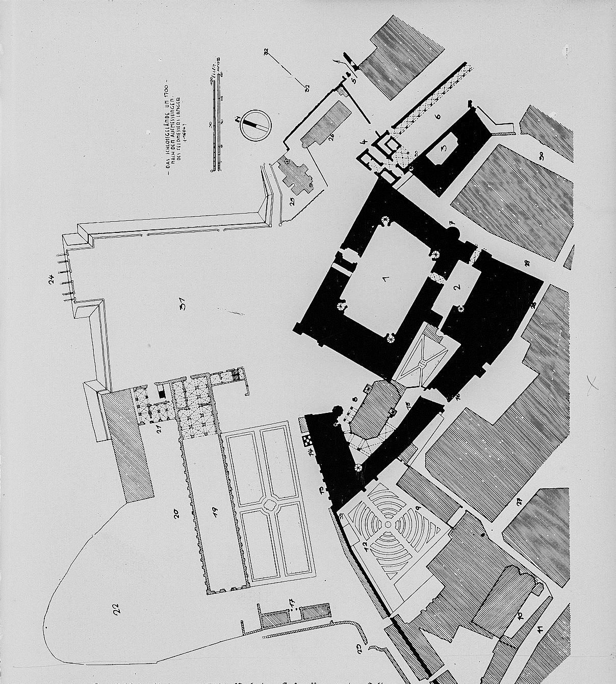 Das westliche Schlossareal mit Zwingerbereich um 1700